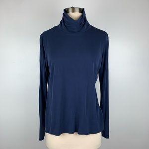 Eileen Fisher Silk Navy Blue Turtleneck Small